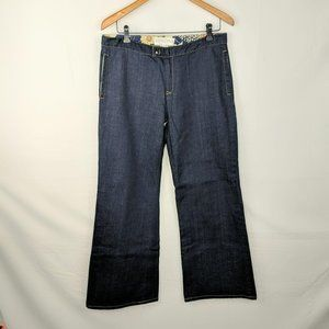 Icon National Blue Dark Rinse Wide Leg Jeans Sz 12